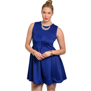 Feellib Women's Plus Size Blue Box-pleated Fit and Flare Dress
