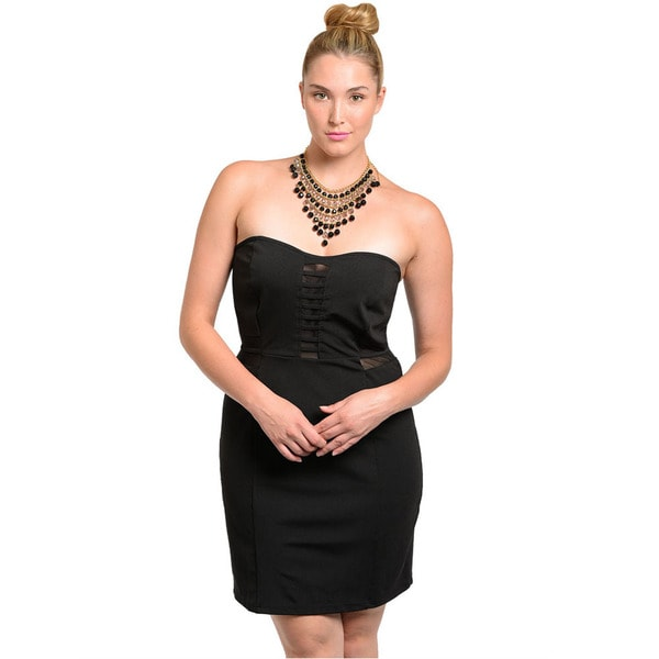 Shop The Trends Women's Plus Size Black Strapless Sweetheart Short Dress