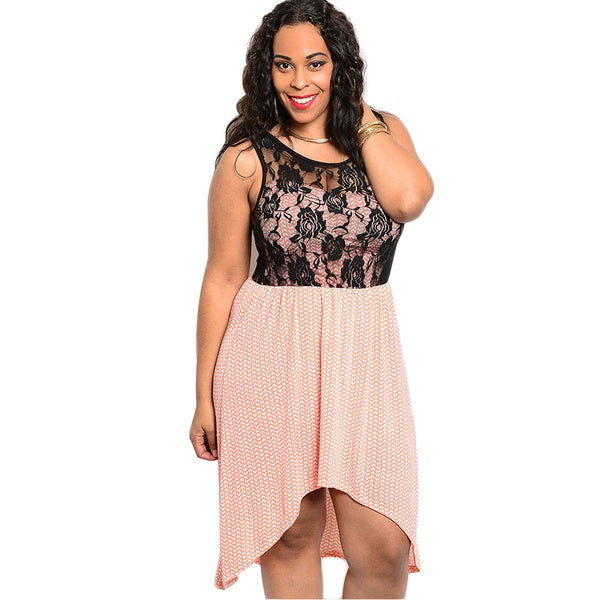 Shop The Trends Women's Plus Size Black and Pink Mini Chevron High-low Dress