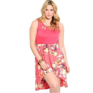 Feellib Women's Plus Size Coral Floral Print Sundress