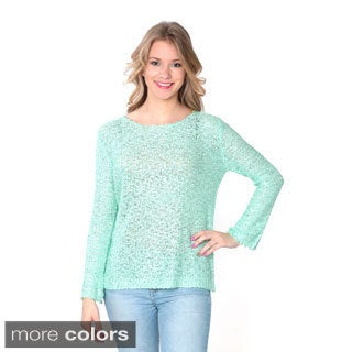 Nancy Yang Women's Long Sleeve Pointelle Knit Shining Sweater