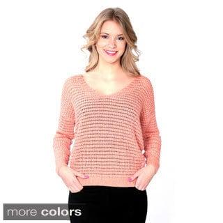 Nancy Yang Women's Long Sleeve Pointelle Knit V-neck Sweater