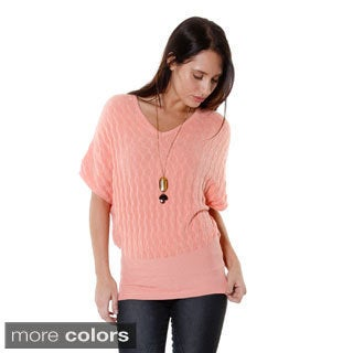Hadari Women's Contemporary Knit V-Neck Dolman Blouse
