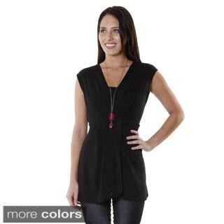 Hadari Women's Cap Sleeve V-neck Top