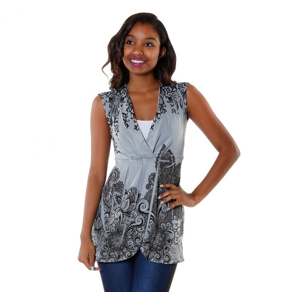 Hadari Women's Floral Cap Sleeve V-neck Top