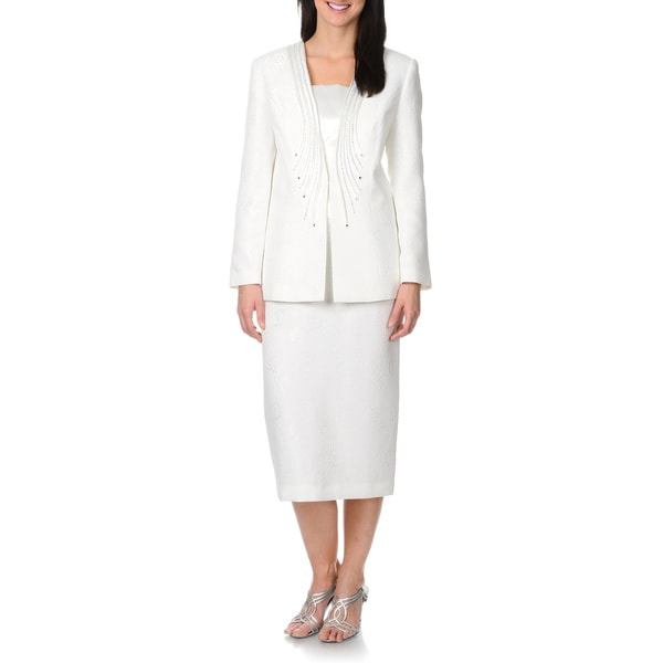 Mia-Suits Collection Women's White Brocade and Rhinestone Pattern 2-piece Skirt Suit