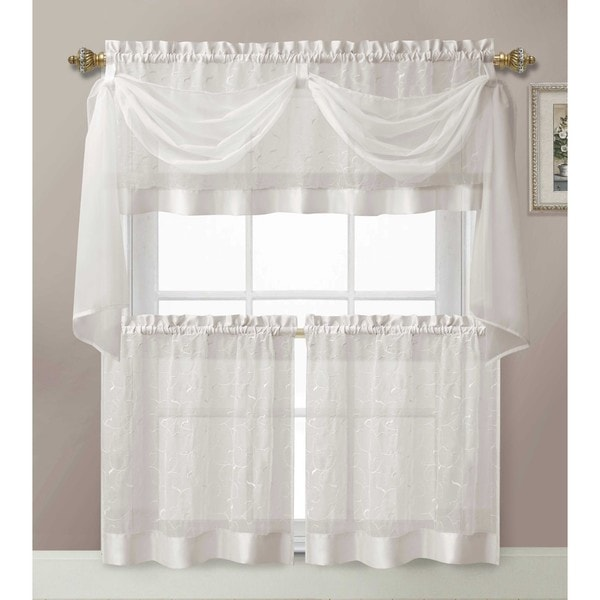 VCNY Linen Leaf 4-piece Kitchen Tier Curtain Set