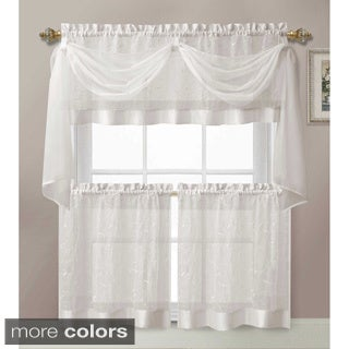 Victoria Classics Linen Leaf 4-piece Kitchen Tier Curtain Set