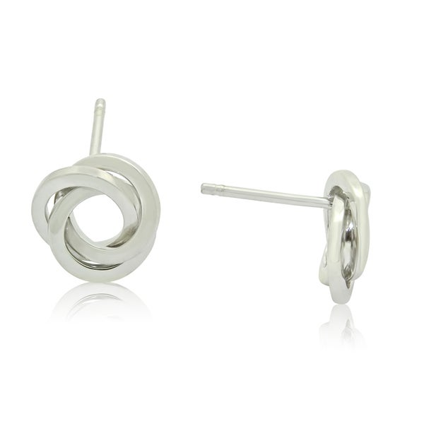 Sterling Silver Flat Love Knot Stud Earrings