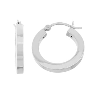 Sterling Silver High Polish Small Flat Hoop Earrings