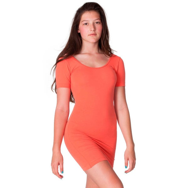 American Apparel Cotton Spandex Jersey Double U-Neck Dress