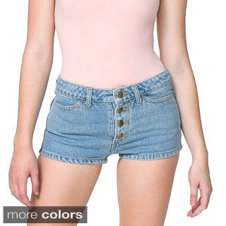 American Apparel Women's Denim Front Button Shorts