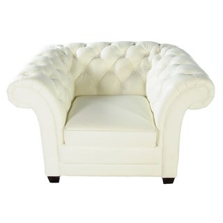Lazzaro Leather White Victoria Chair