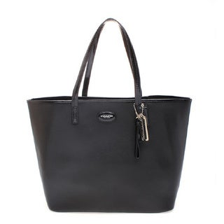 Coach 'Metro North' Large Black Leather Tote