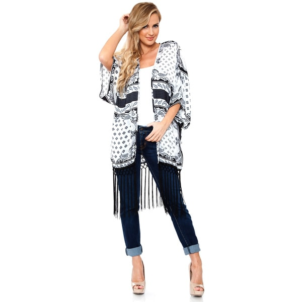 White Mark Women's Black/ White Fringe Kimono