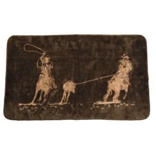 HiEnd Accents Team Roping Bathroom/ Kitchen Dark Chocolate Acrylic Rug