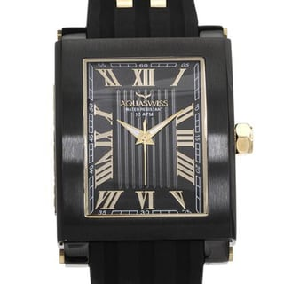 Men's TANC Black Rubber Goldtone Roman Numeral Watch (As Is Item)