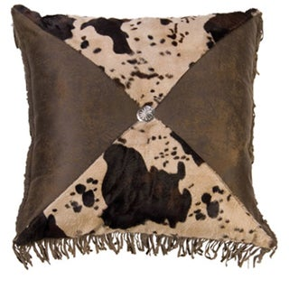 Faux Cowhide 18-inch Pillow with Concho