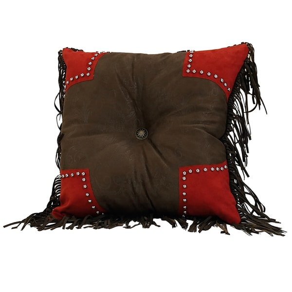 Brown 18-inch Tooled Pillow with Red Scallop