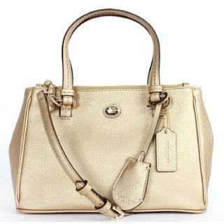 Coach Peyton Gold Leather Mini Handbag