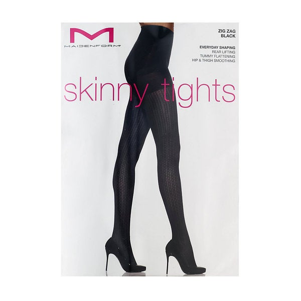 Maidenform Women's Black Zig Zag Skinny Tights