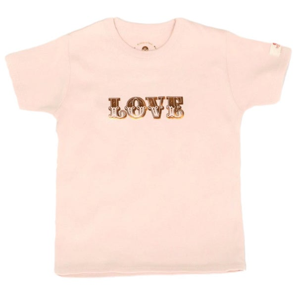 Girls 'Love' Light Pink Organic Cotton T-shirt