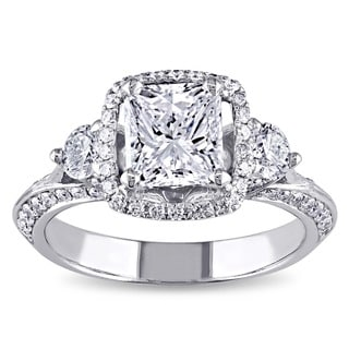 Miadora 18k White Gold 1 3/4ct TDW Certified Radiant-cut Diamond 3-stone Engagement Ring (D, SI2)