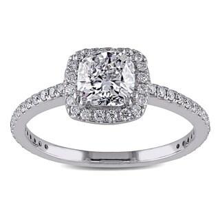Miadora 14k White Gold 1 1/3ct TDW Certified Diamond Halo Engagement Ring (G-H, SI1-SI2) (GIA)