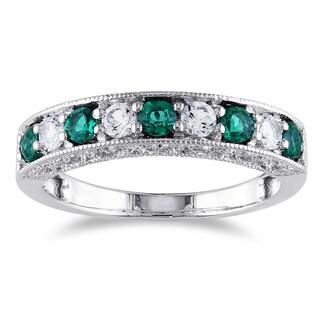 Miadora 10k White Gold Simulated Emerald and Created White Sapphire Anniversary Ring