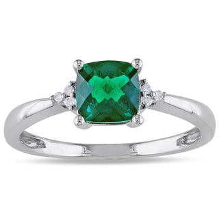 Miadora 10k White Gold Simulated Emerald Diamond Accent Ring