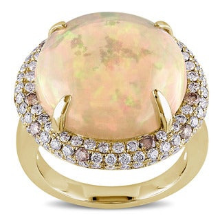 Miadora Signature Collection 14k Yellow Gold Ethiopian Opal 1 1/3ct TDW Brown and White Diamond Cocktail Ring (G-H, SI1-S