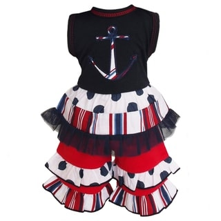 AnnLoren Stripes and Dots Nautical Anchor Doll Outfit fits American Girl Dolls