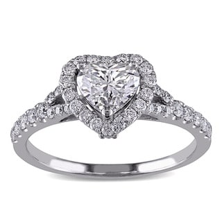 Miadora 14k White Gold 1 1/10ct TDW Diamond Heart Engagement Ring (G-H, SI1-SI2)