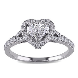 Miadora Signature Collection 14k White Gold 1 1/10ct TDW Diamond Heart Engagement Ring (G-H, SI1-SI2)