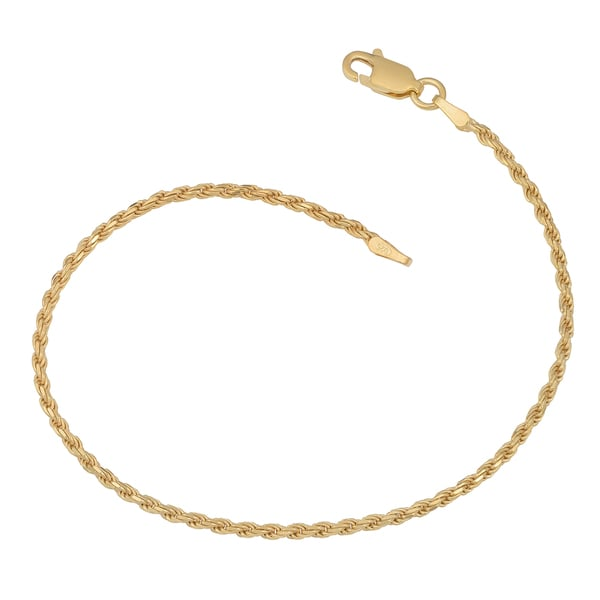 Fremada 14K Yellow Gold over Sterling Silver 2-mm Rope Bracelet