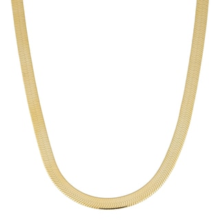 Fremada 14k Yellow Gold over Sterling Silver 3.3mm High Polish Finish Herringbone Necklace
