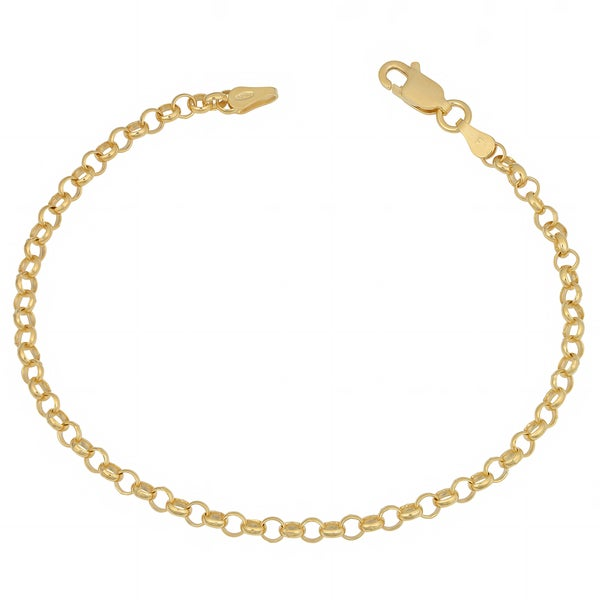 Fremada 14k Yellow Gold over Sterling Silver 3mm High Polish Rolo Bracelet