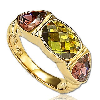 Suzy Levian Goldplated Sterling Silver Cubic Zirconia 3-stone Ring