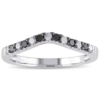 Haylee Jewels Sterling Silver 1/3ct TDW Black and White Diamond Wedding Band (I-J, I2-I3)