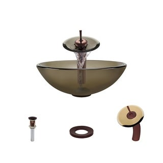 Mr Direct 601 Taupe Oil Rubbed Bronze Bathroom Sink and Faucet Ensemble