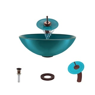 Mr Direct 601 Turquoise Oil Rubbed Bronze Bathroom Sink and Faucet Ensemble