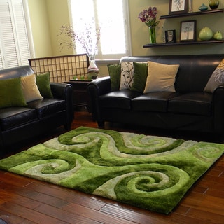 Donnie Ann Shaggy Abstract Swirl Green Area Rug (5 'x 7')