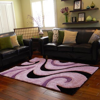 Donnie Ann Shaggy Abstract Wavy Swirl Purple Area Rug (5 'x 7')