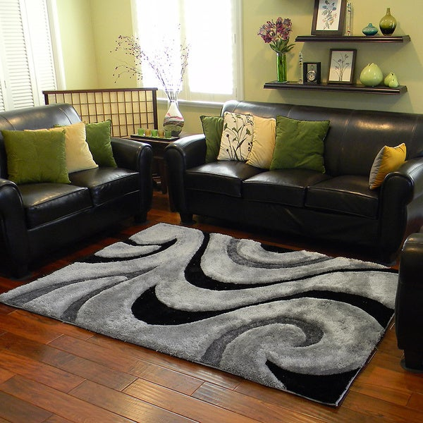 Donnie Ann Shaggy Abstract Wavy Swirl Grey Area Rug (5 'x 7')