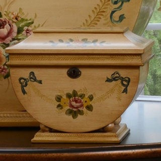 Hand Painted Victorian Floral Colonial Memory Life Chest
