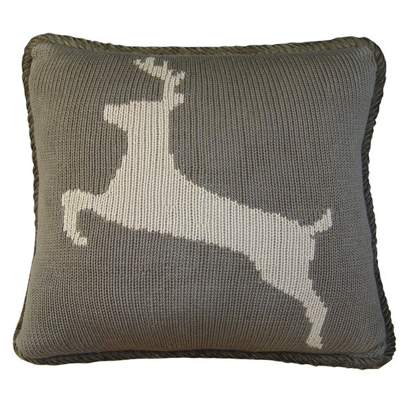 17-inch Knitted Pillow Deer
