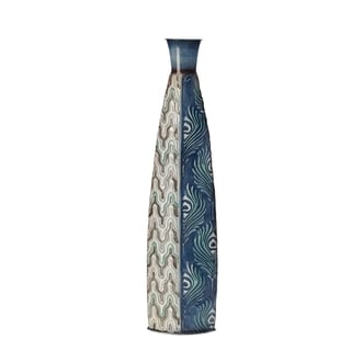 Elements Blue Peacock Pattern 24-inch Vase