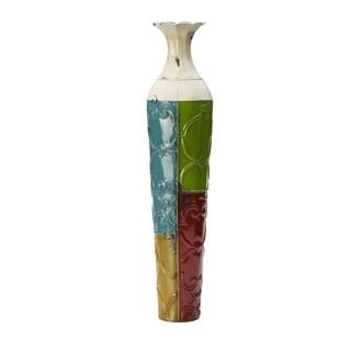 Elements Colorblocked Embossed Metal Vase
