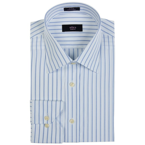 Alara Men's Blue Dobby Stripe Dress Shirt