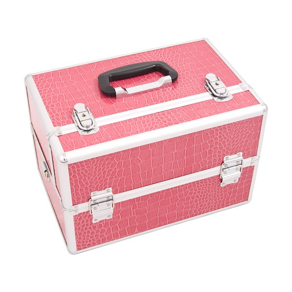 Justcase Hot Pink Crocodile Easy Slide Trays Professional Makeup Case